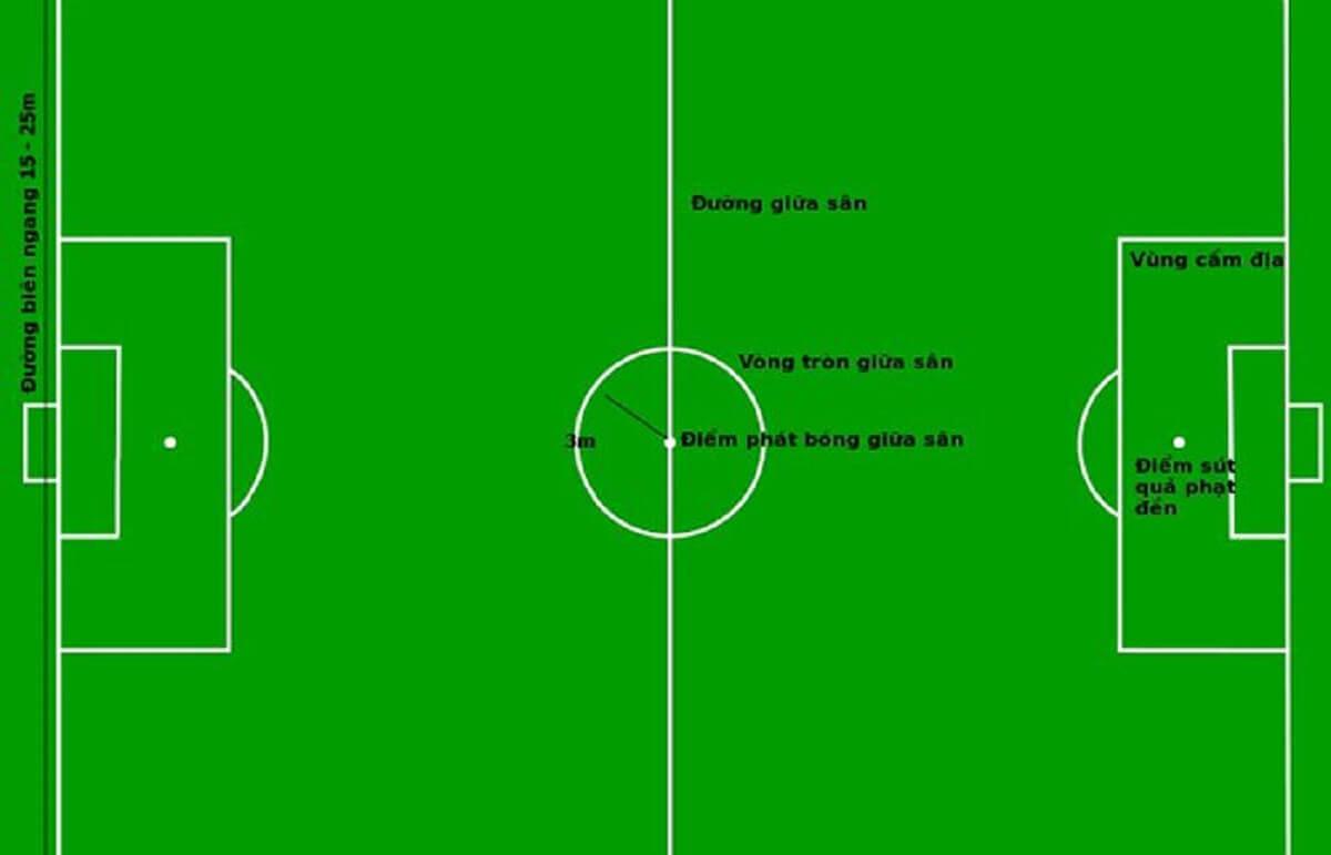 Kích thước sân cỏ nhân tạo 5 người theo tiêu chuẩn FIFA