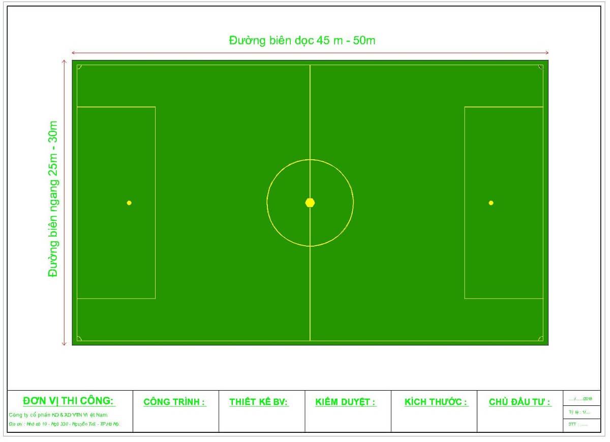 Kích thước sân bóng 7 người theo tiêu chuẩn FIFA